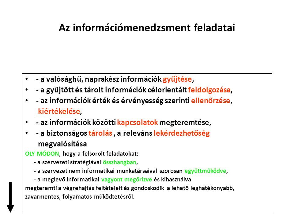 Az információmenedzsment feladatai