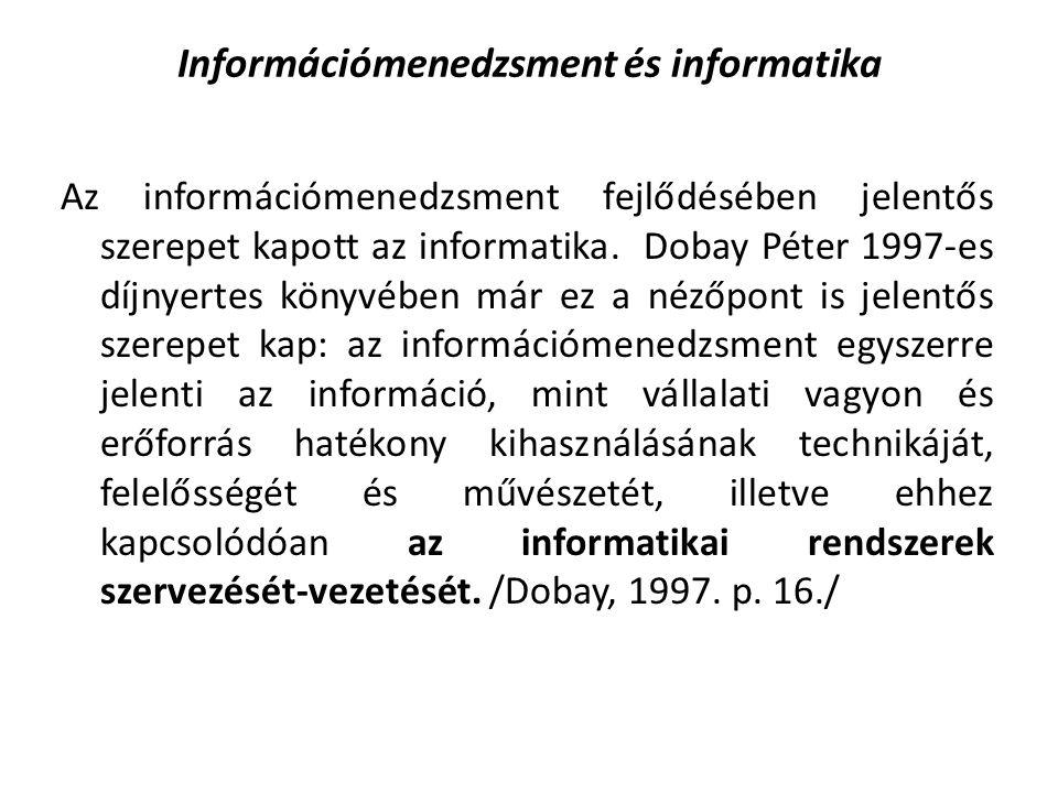 Információmenedzsment és informatika