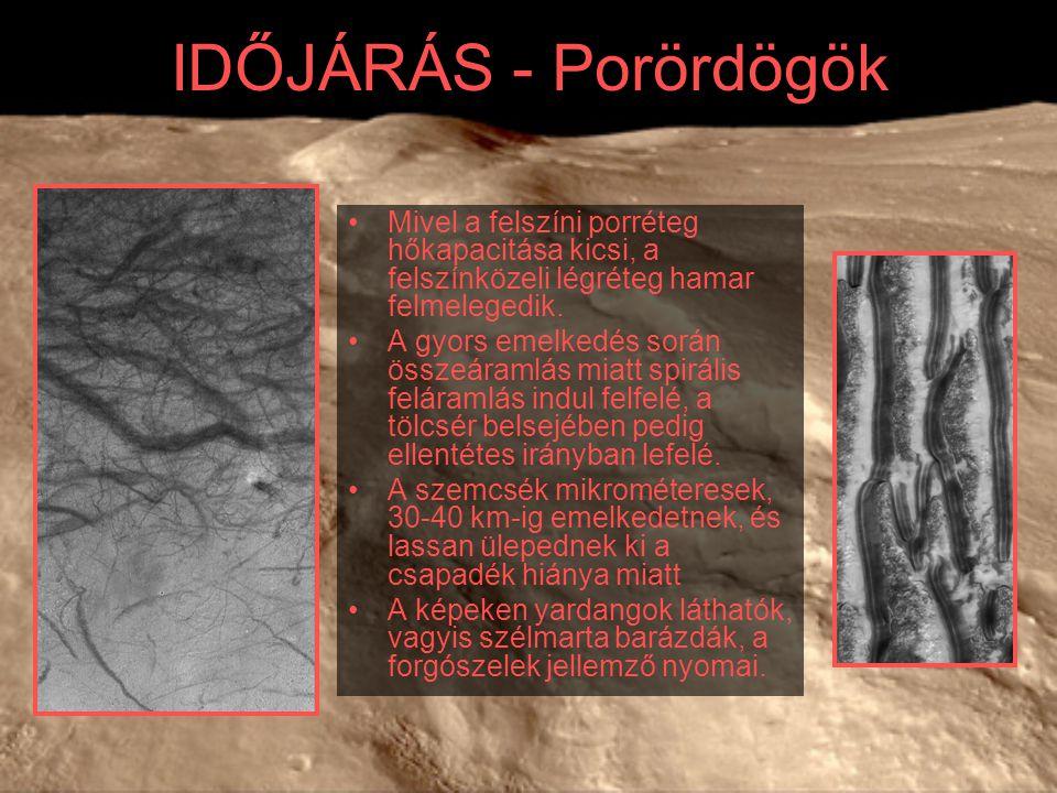 IDŐJÁRÁS - Porördögök Mivel a felszíni porréteg hőkapacitása kicsi, a felszínközeli légréteg hamar felmelegedik.