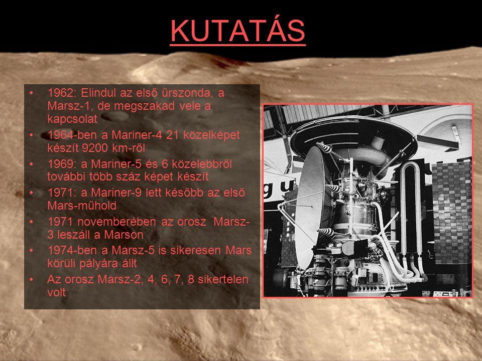 KUTATÁS 1962: Elindul az első űrszonda, a Marsz-1, de megszakad vele a kapcsolat. 1964-ben a Mariner-4 21 közelképet készít 9200 km-ről.