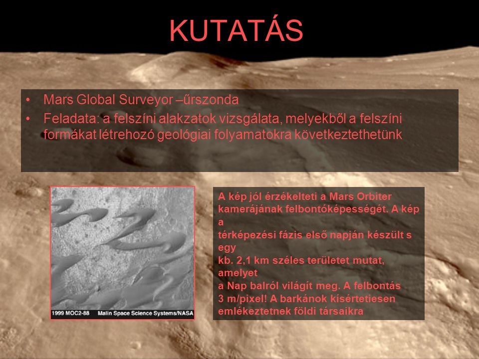 KUTATÁS Mars Global Surveyor –űrszonda
