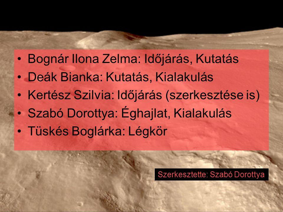 Bognár Ilona Zelma: Időjárás, Kutatás Deák Bianka: Kutatás, Kialakulás