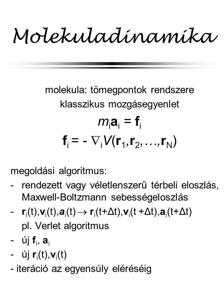 Molekuladinamika miai = fi fi = - iV(r1,r2,…,rN)