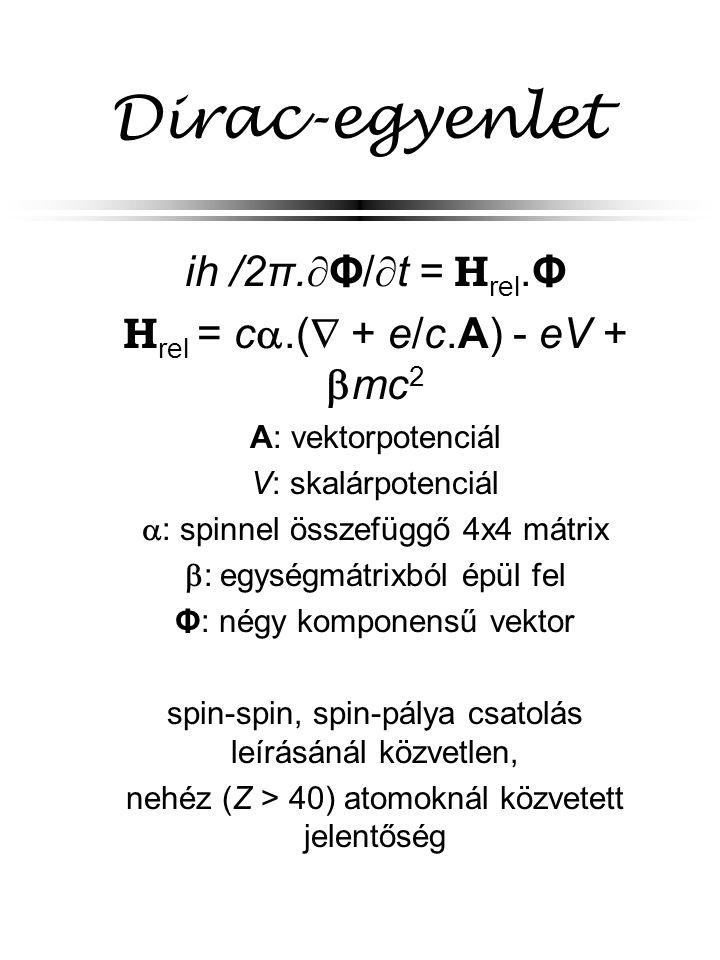 Dirac-egyenlet ih/2π.Φ/t = Hrel.Φ Hrel = c.( + e/c.A) - eV + mc2