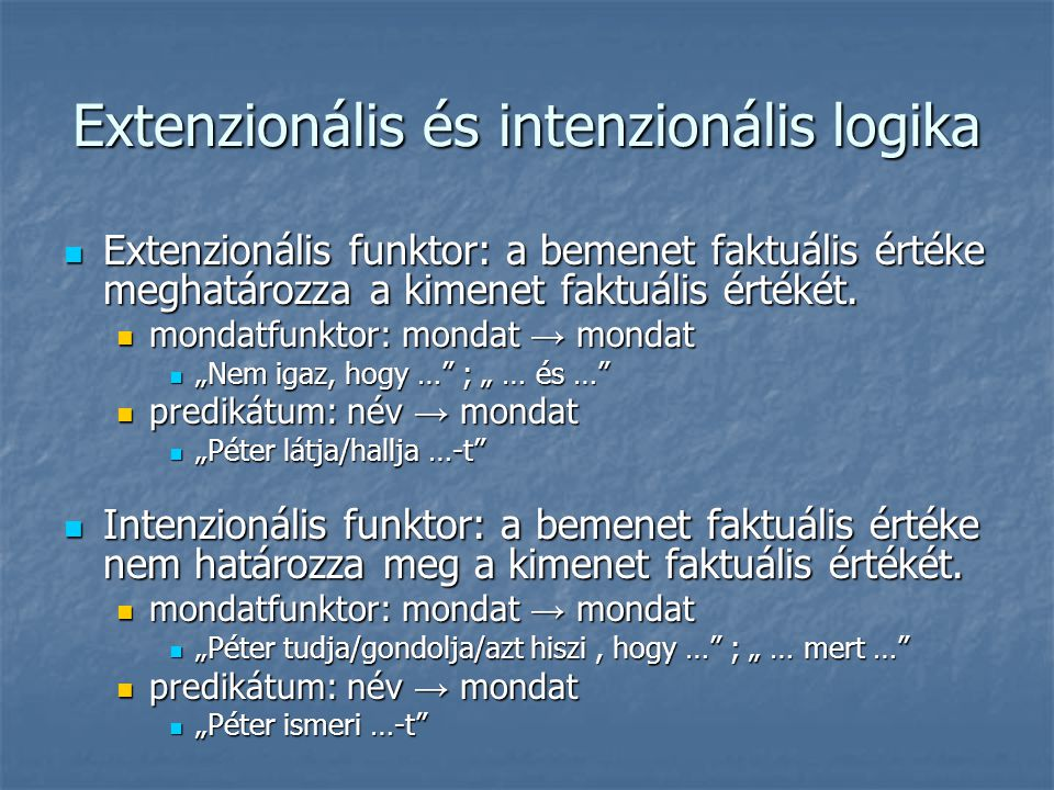 Extenzionális és intenzionális logika