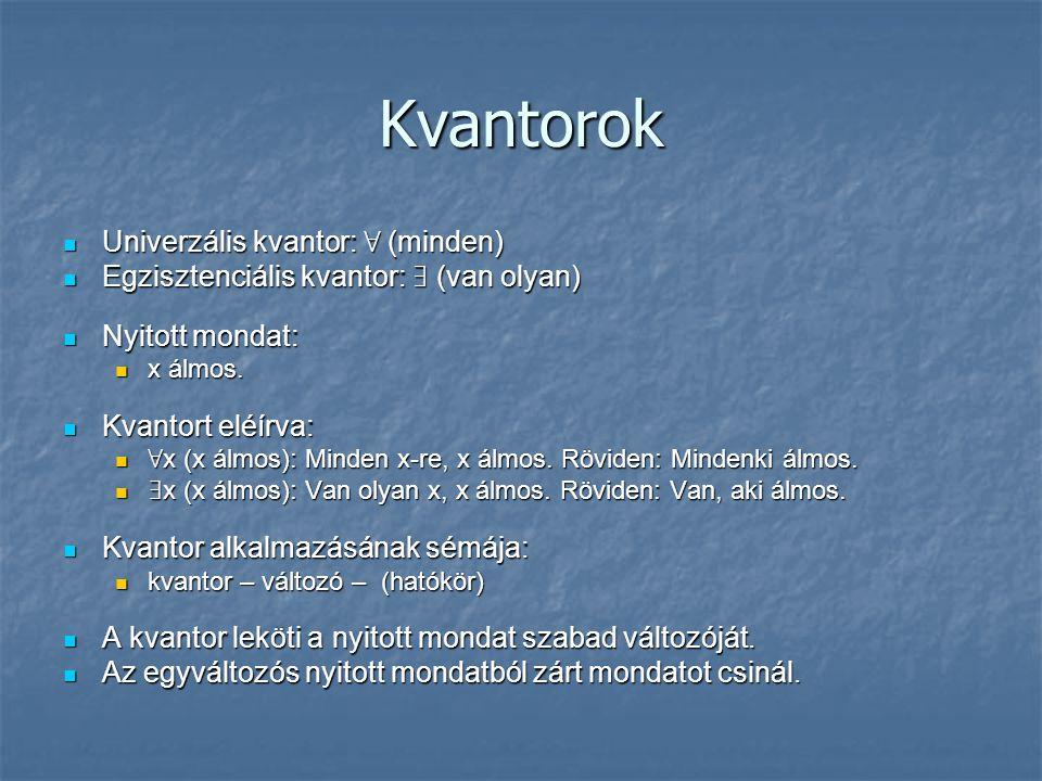 Kvantorok Univerzális kvantor: ∀ (minden)