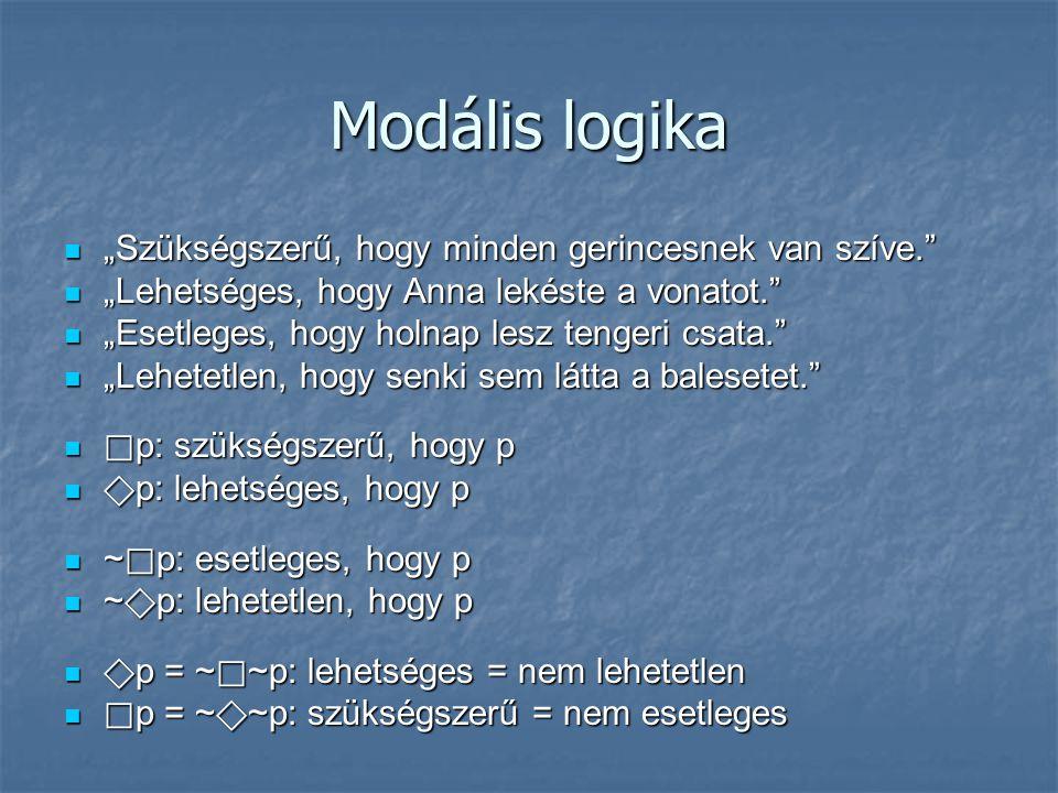 """Modális logika """"Szükségszerű, hogy minden gerincesnek van szíve."""