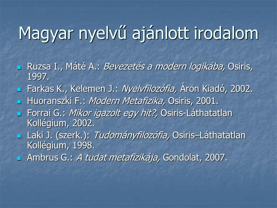 Magyar nyelvű ajánlott irodalom