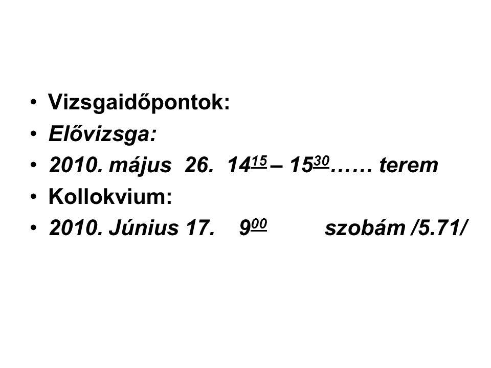 Vizsgaidőpontok: Elővizsga: 2010. május 26. 1415 – 1530…… terem.