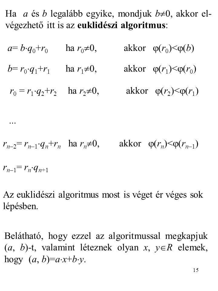 Ha a és b legalább egyike, mondjuk b0, akkor el-végezhető itt is az euklidészi algoritmus: