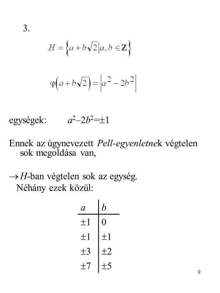 3. egységek: a2–2b2=1. Ennek az úgynevezett Pell-egyenletnek végtelen sok megoldása van, H-ban végtelen sok az egység.