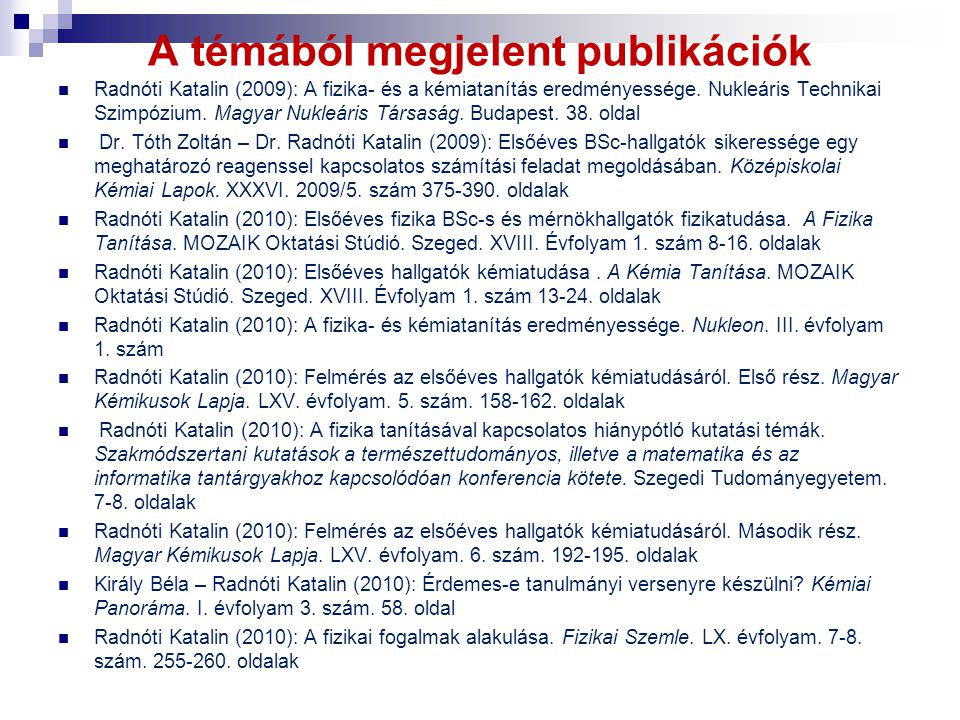 A témából megjelent publikációk