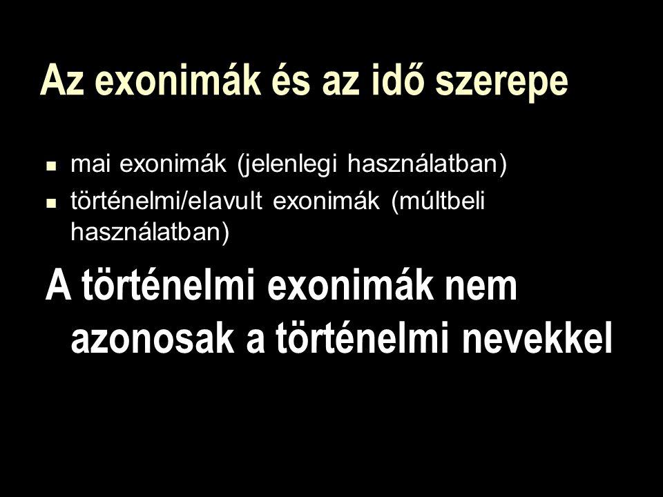 Az exonimák és az idő szerepe