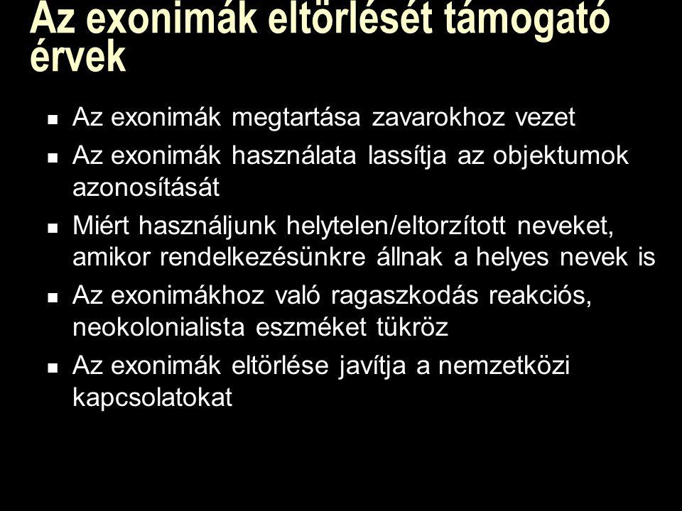 Az exonimák eltörlését támogató érvek