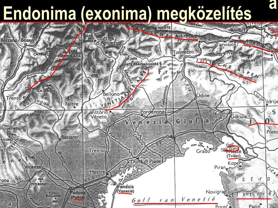Endonima (exonima) megközelítés Venezia (Venetië)