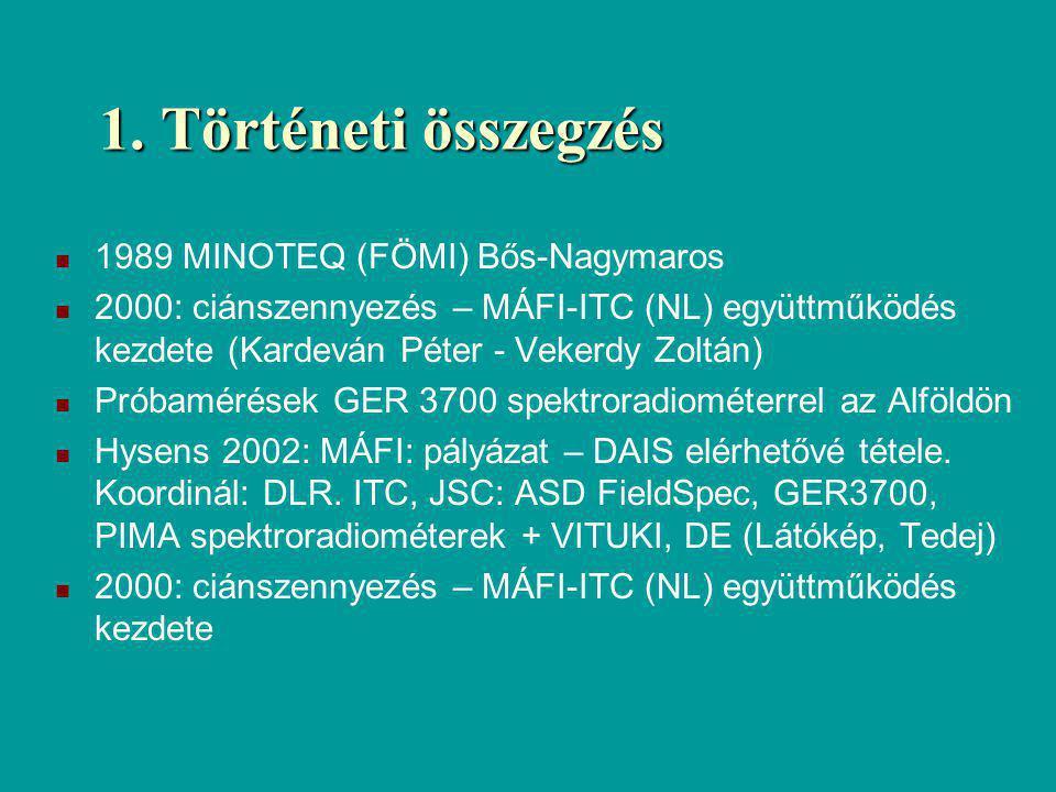 1. Történeti összegzés 1989 MINOTEQ (FÖMI) Bős-Nagymaros