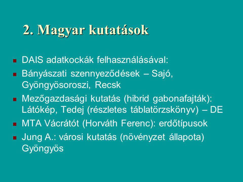 2. Magyar kutatások DAIS adatkockák felhasználásával: