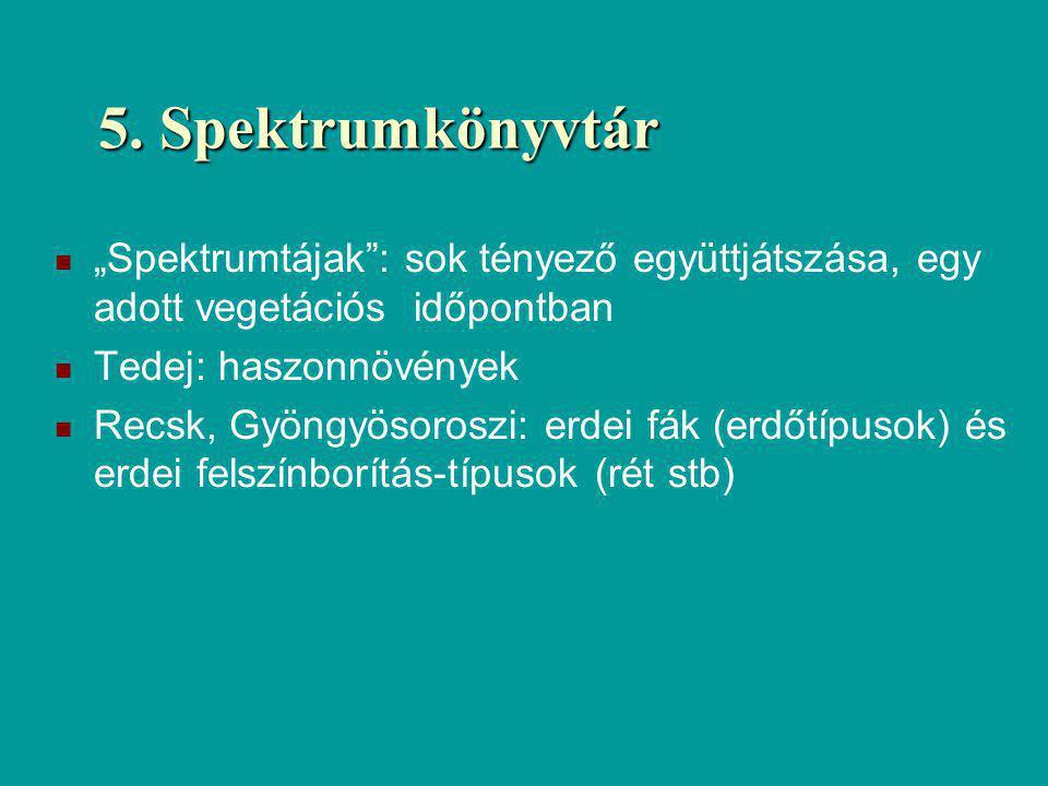 """5. Spektrumkönyvtár """"Spektrumtájak : sok tényező együttjátszása, egy adott vegetációs időpontban. Tedej: haszonnövények."""