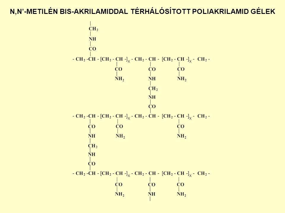 N,N'-METILÉN BIS-AKRILAMIDDAL TÉRHÁLÓSÍTOTT POLIAKRILAMID GÉLEK