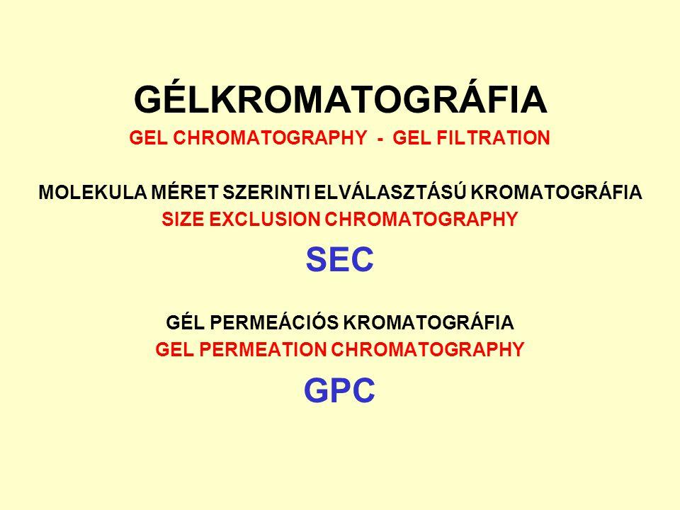 GÉLKROMATOGRÁFIA SEC GPC GEL CHROMATOGRAPHY - GEL FILTRATION