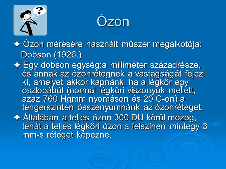 Ózon ✦ Ózon mérésére használt műszer megalkotója: Dobson (1926.)