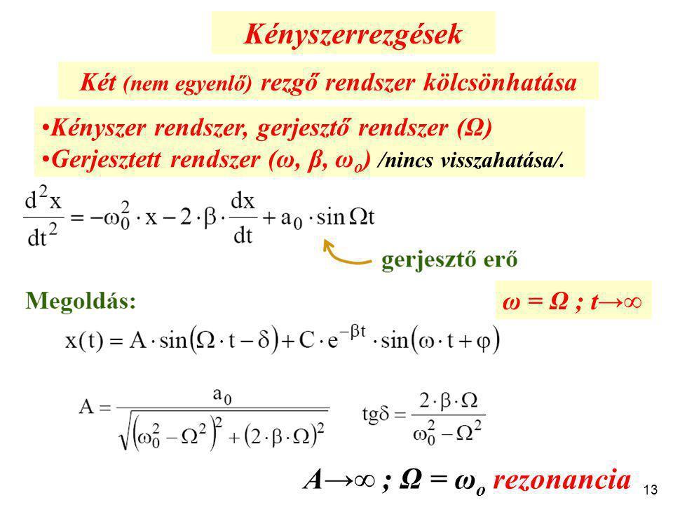 Két (nem egyenlő) rezgő rendszer kölcsönhatása