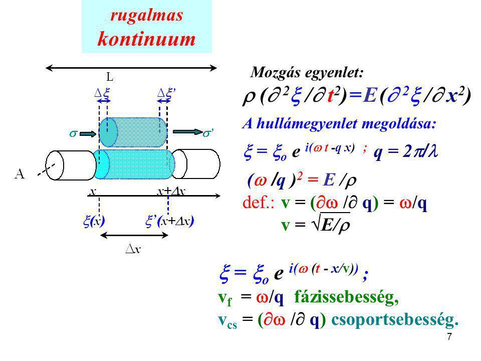 kontinuum  ( 2 / t2) = E ( 2 / x2)  = o e i( (t - x/v)) ;