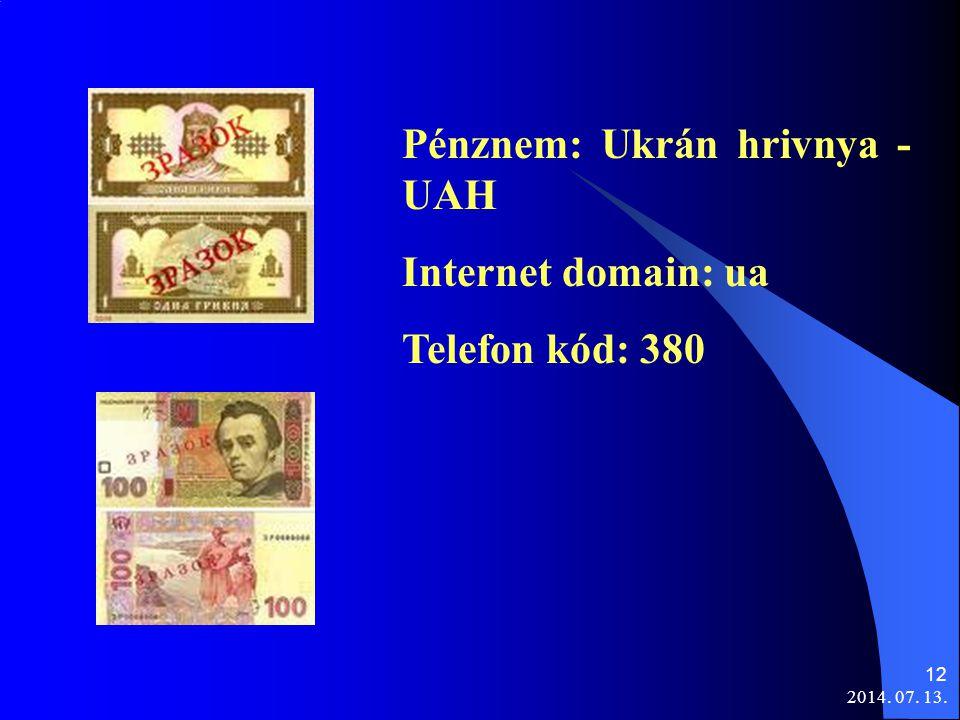 Pénznem: Ukrán hrivnya - UAH Internet domain: ua Telefon kód: 380
