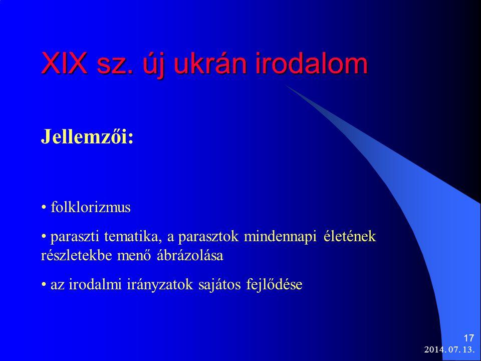 XIX sz. új ukrán irodalom