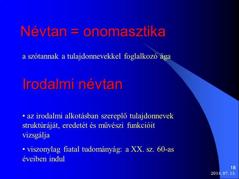 Névtan = onomasztika Irodalmi névtan