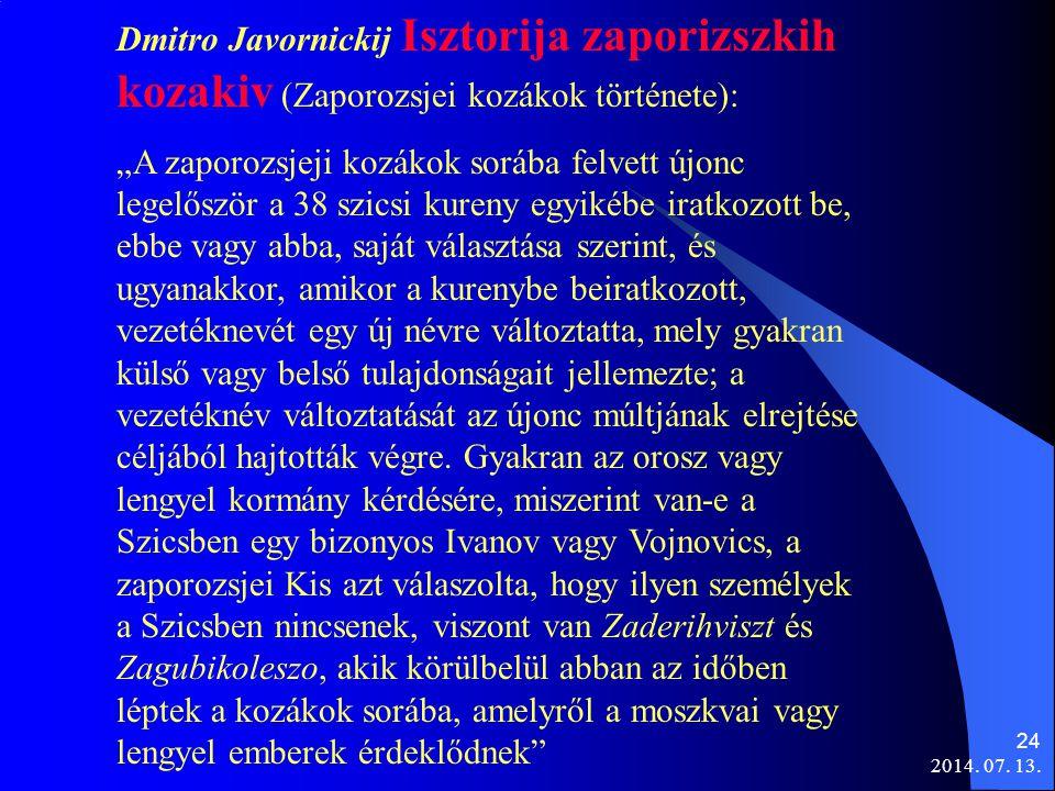 Dmitro Javornickij Isztorija zaporizszkih kozakiv (Zaporozsjei kozákok története):