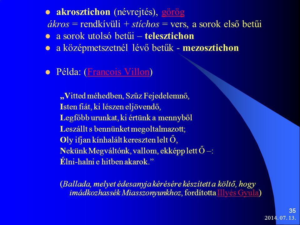 akrosztichon (névrejtés), görög