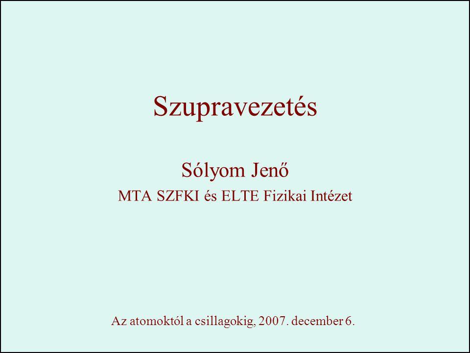 Szupravezetés Sólyom Jenő MTA SZFKI és ELTE Fizikai Intézet