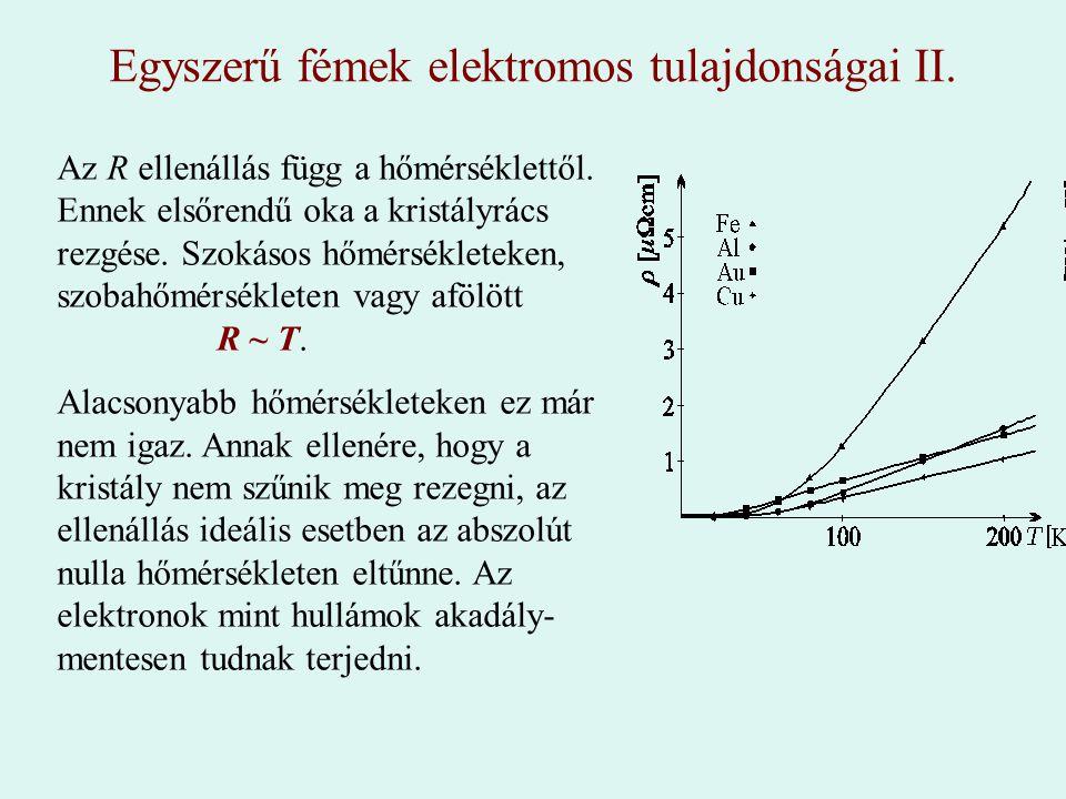 Egyszerű fémek elektromos tulajdonságai II.