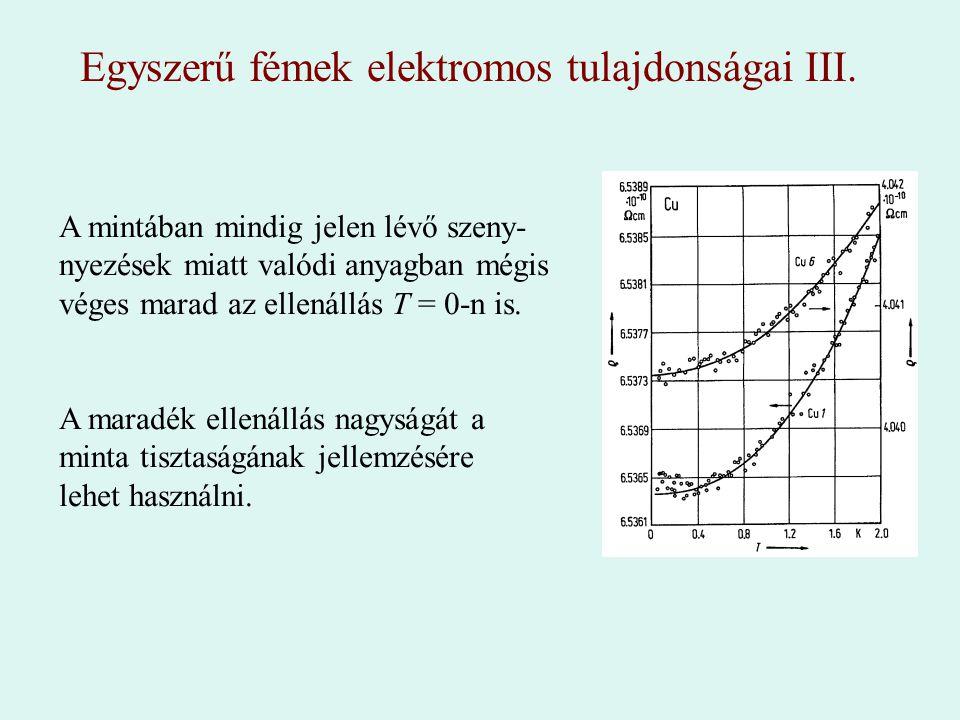 Egyszerű fémek elektromos tulajdonságai III.