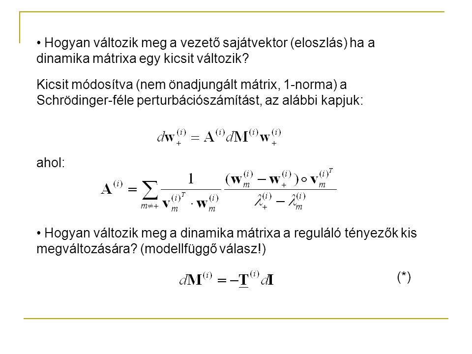 Hogyan változik meg a vezető sajátvektor (eloszlás) ha a dinamika mátrixa egy kicsit változik