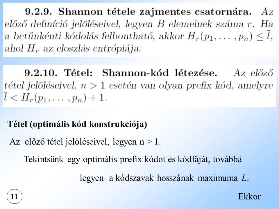 Tétel (optimális kód konstrukciója)