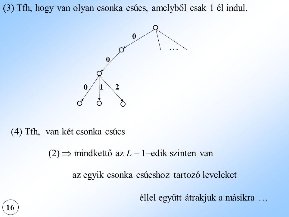 (3) Tfh, hogy van olyan csonka csúcs, amelyből csak 1 él indul.