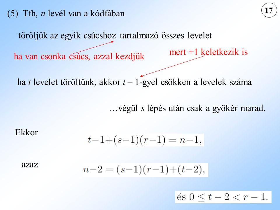 (5) Tfh, n levél van a kódfában