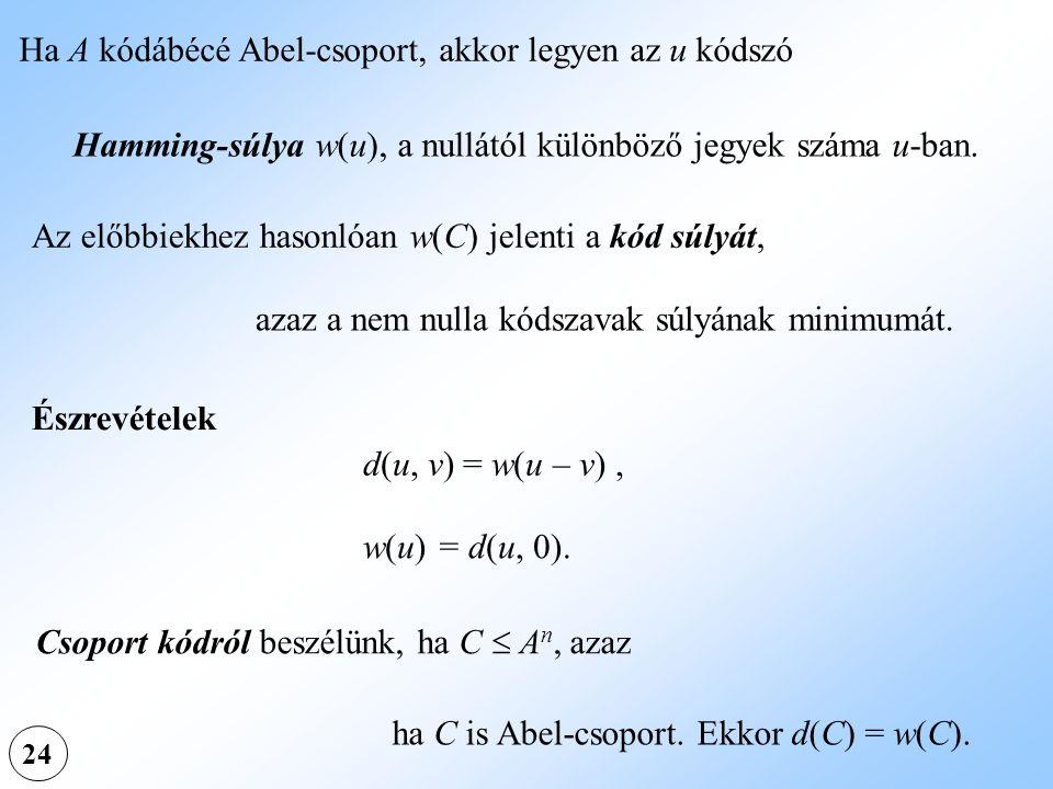 Ha A kódábécé Abel-csoport, akkor legyen az u kódszó