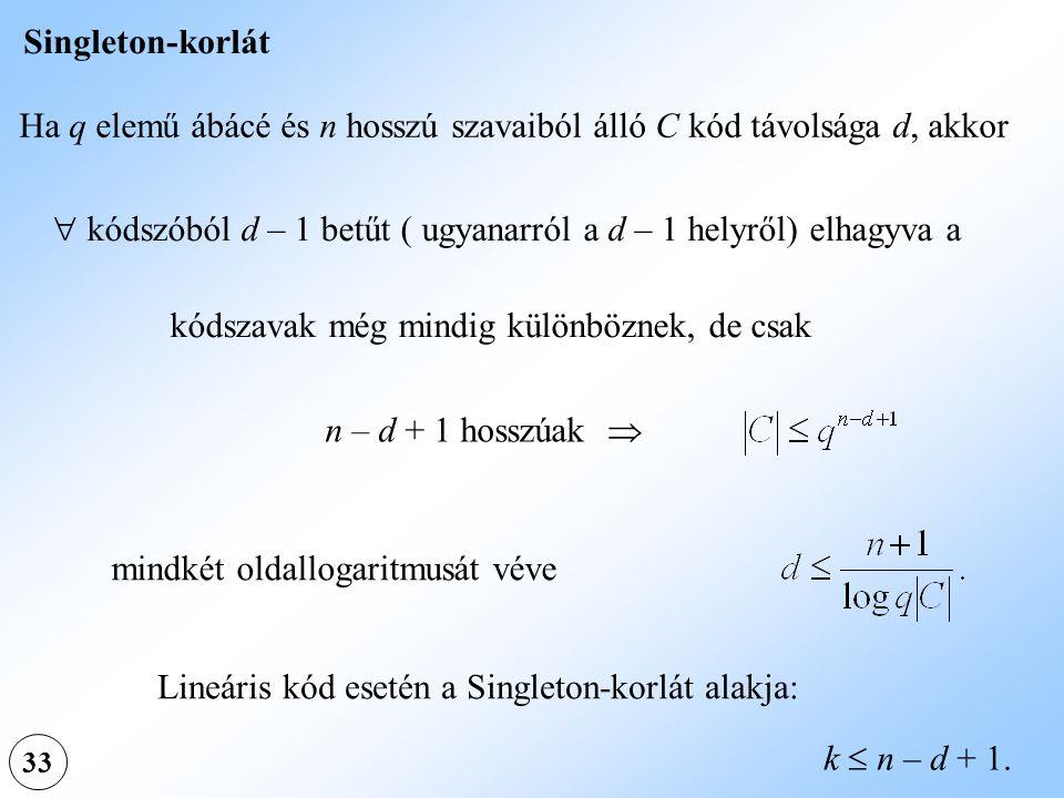 Ha q elemű ábácé és n hosszú szavaiból álló C kód távolsága d, akkor