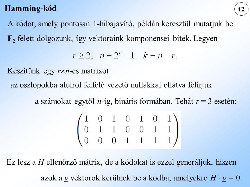 A kódot, amely pontosan 1-hibajavító, példán keresztül mutatjuk be.