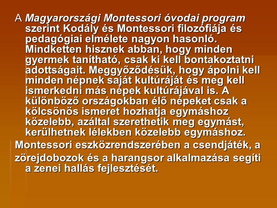 A Magyarországi Montessori óvodai program szerint Kodály és Montessori filozófiája és pedagógiai elmélete nagyon hasonló. Mindketten hisznek abban, hogy minden gyermek tanítható, csak ki kell bontakoztatni adottságait. Meggyőződésük, hogy ápolni kell minden népnek saját kultúráját és meg kell ismerkedni más népek kultúrájával is. A különböző országokban élő népeket csak a kölcsönös ismeret hozhatja egymáshoz közelebb, azáltal szerethetik meg egymást, kerülhetnek lélekben közelebb egymáshoz.