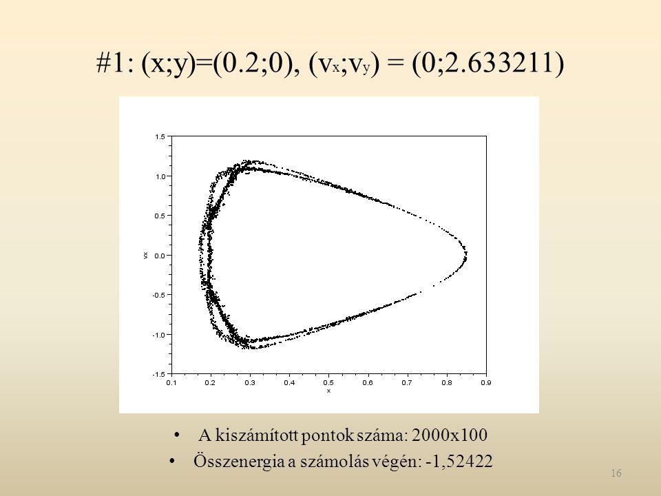 #1: (x;y)=(0.2;0), (vx;vy) = (0;2.633211)