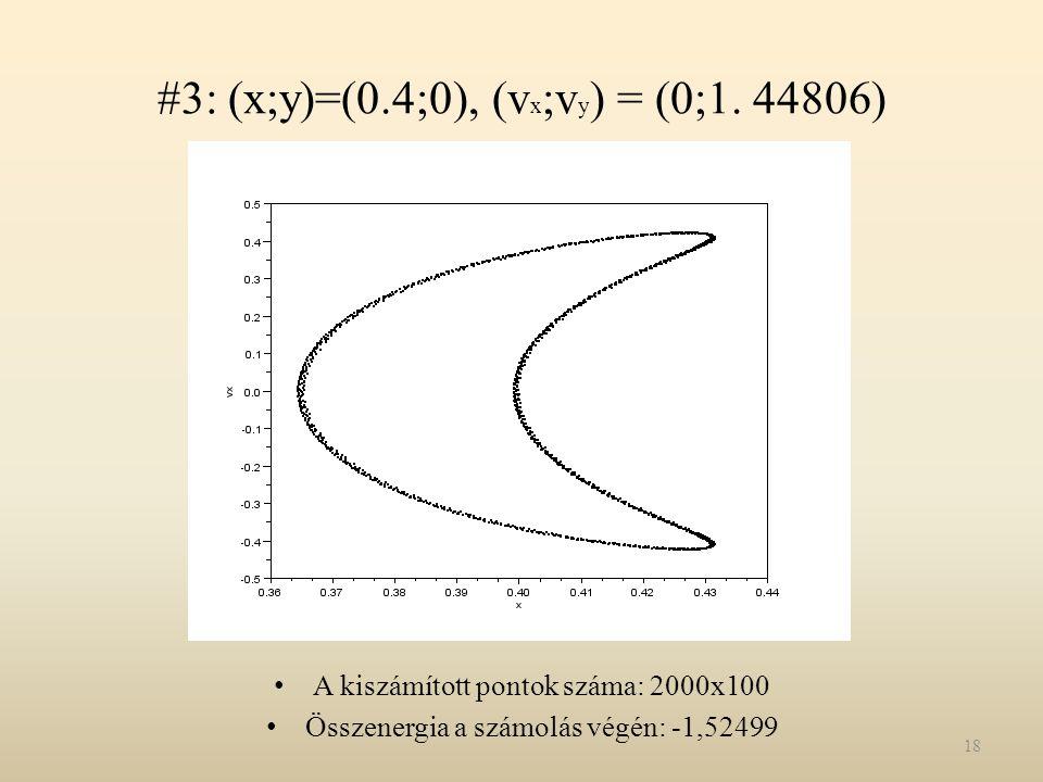 #3: (x;y)=(0.4;0), (vx;vy) = (0;1. 44806)