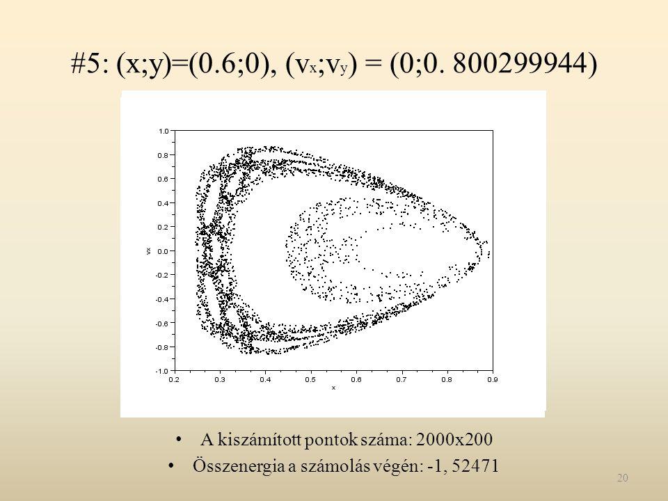 #5: (x;y)=(0.6;0), (vx;vy) = (0;0. 800299944)