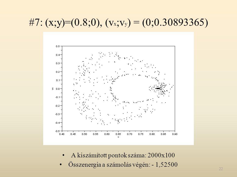 #7: (x;y)=(0.8;0), (vx;vy) = (0;0.30893365)