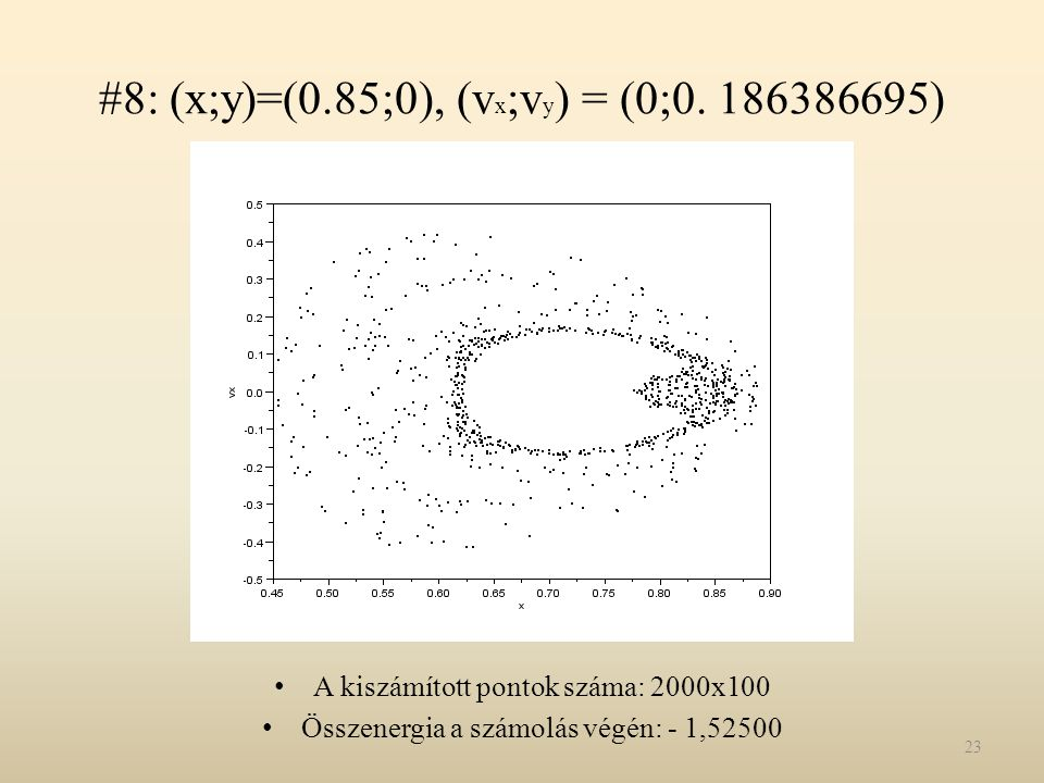 #8: (x;y)=(0.85;0), (vx;vy) = (0;0. 186386695)