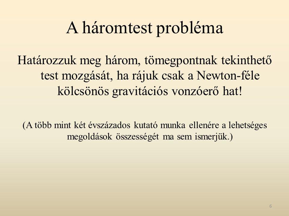 A háromtest probléma Határozzuk meg három, tömegpontnak tekinthető test mozgását, ha rájuk csak a Newton-féle kölcsönös gravitációs vonzóerő hat!