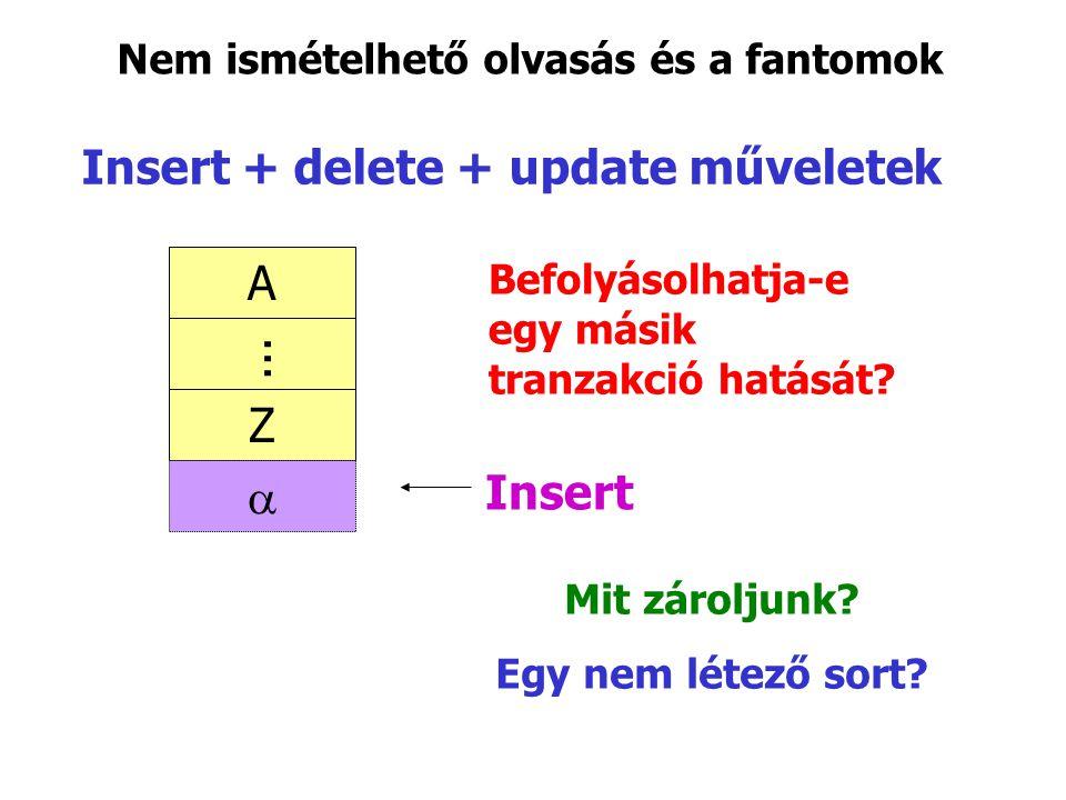 Insert + delete + update műveletek